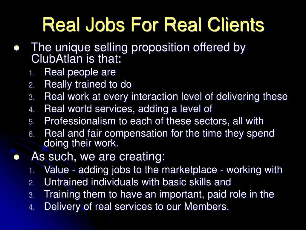 Real Jobs For Real Clients