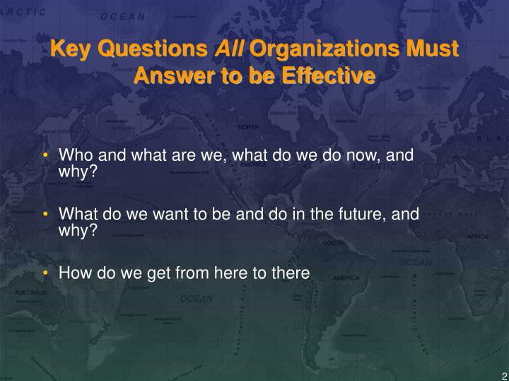 Key questions all organizations must answer to be effective