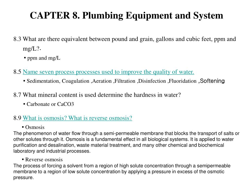 CAPTER 8. Plumbing Equipment and System