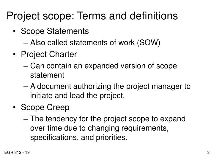 Project scope terms and definitions