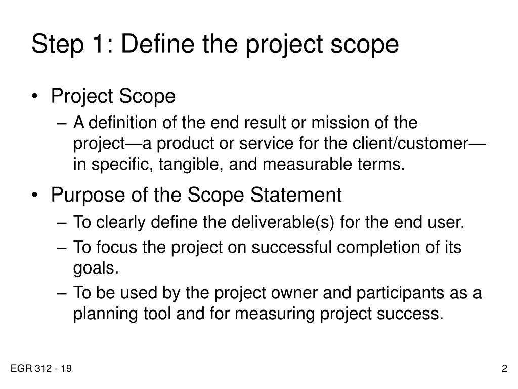 Step 1: Define the project scope