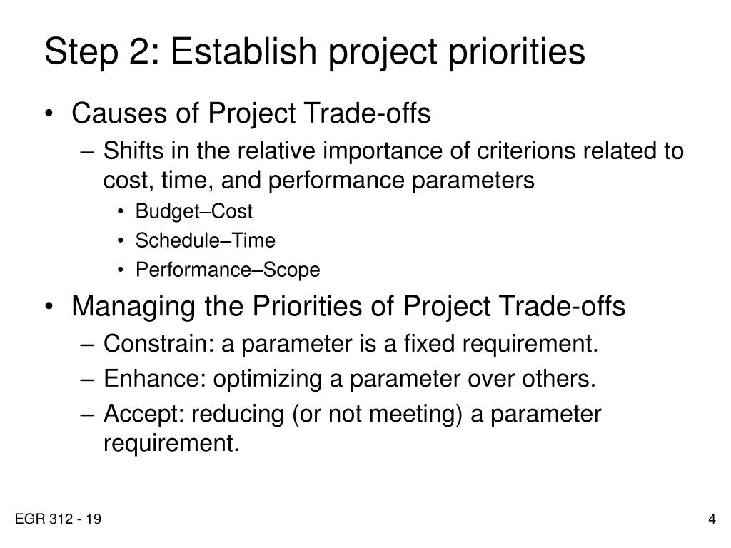 Step 2: Establish project priorities