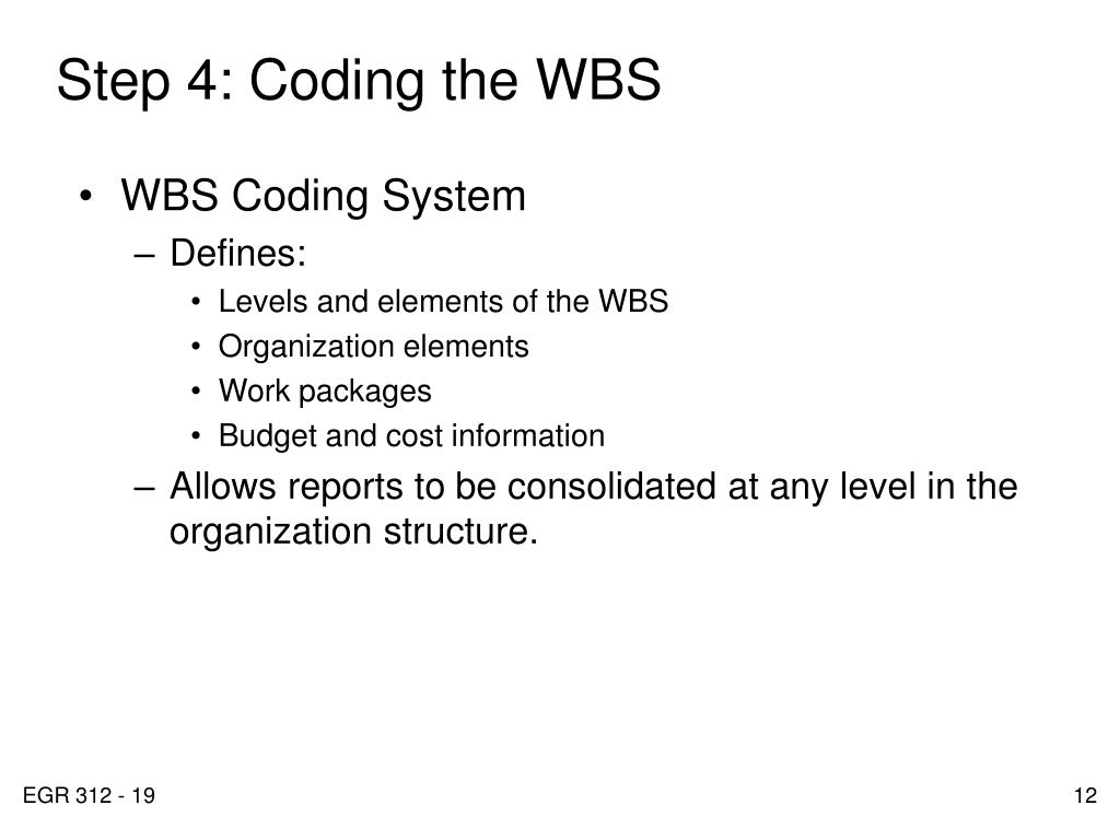 Step 4: Coding the WBS