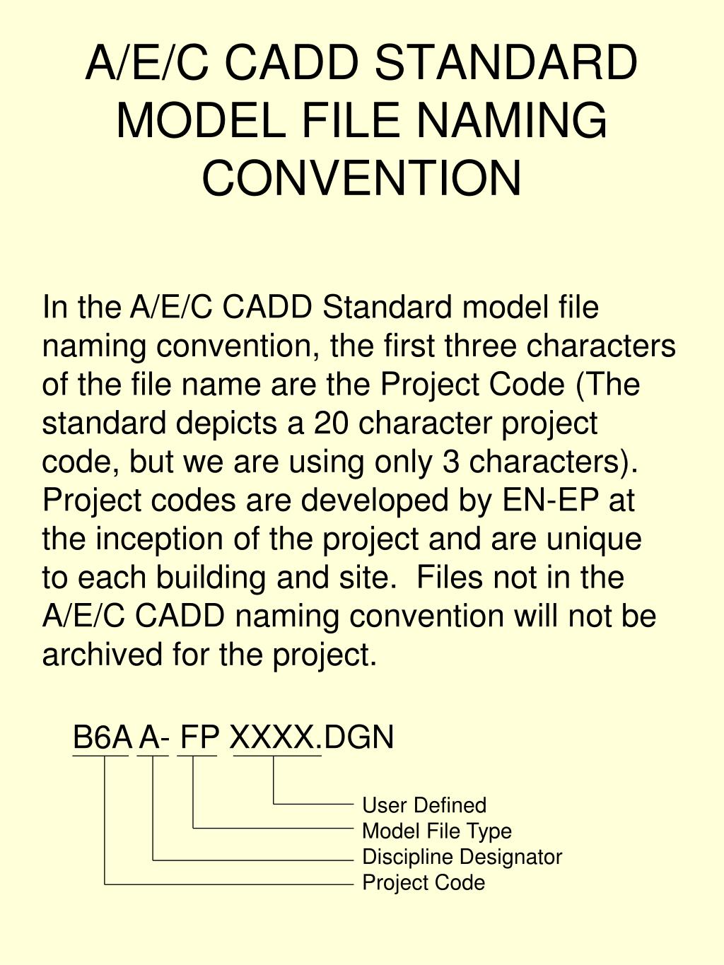 A/E/C CADD STANDARD MODEL FILE NAMING CONVENTION