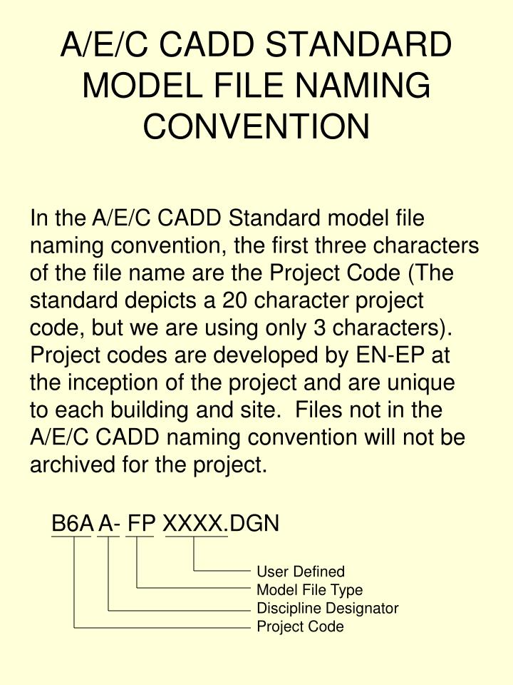A e c cadd standard model file naming convention