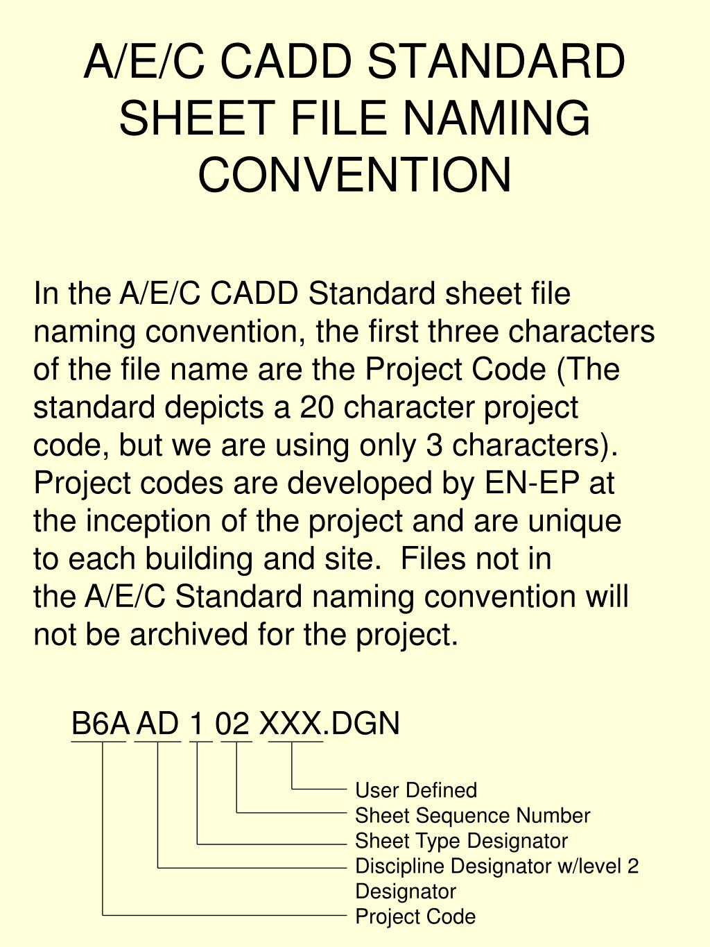 A/E/C CADD STANDARD SHEET FILE NAMING CONVENTION