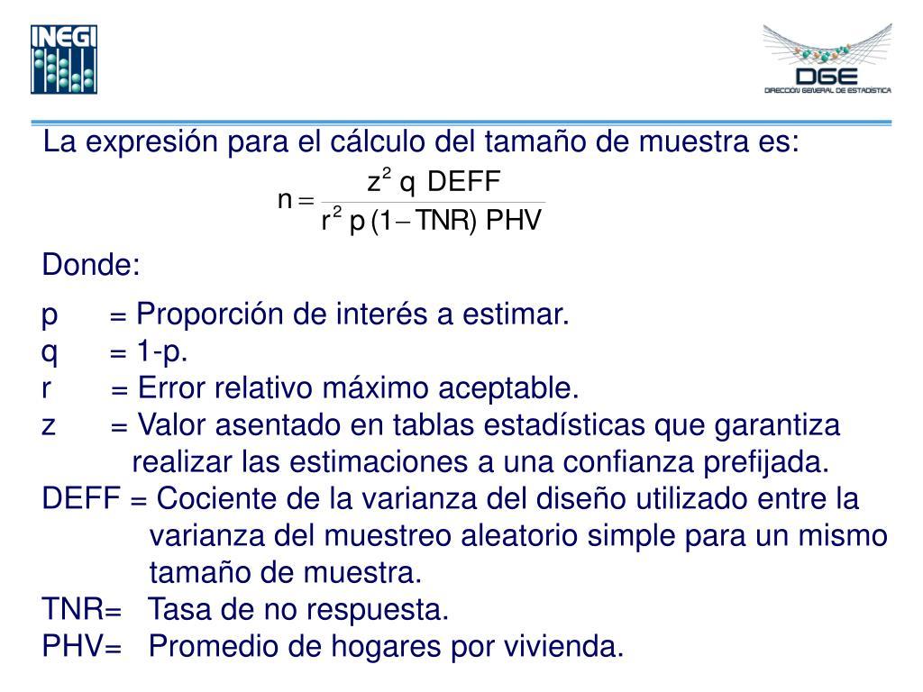 La expresión para el cálculo del tamaño de muestra es: