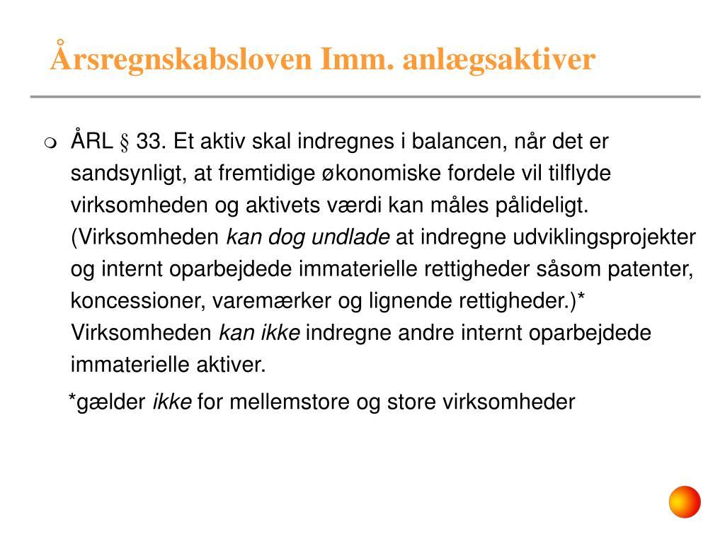 Årsregnskabsloven Imm. anlægsaktiver