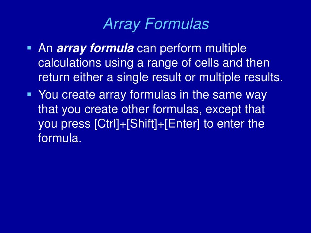 Array Formulas