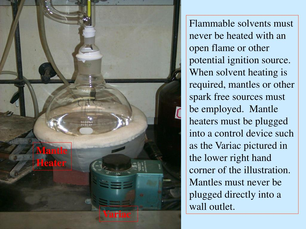 Flammable solvents must never be heated with an open flame or other potential ignition source.  When solvent heating is required, mantles or other spark free sources must be employed.  Mantle heaters must be plugged into a control device such as the Variac pictured in the lower right hand corner of the illustration.  Mantles must never be plugged directly into a wall outlet.