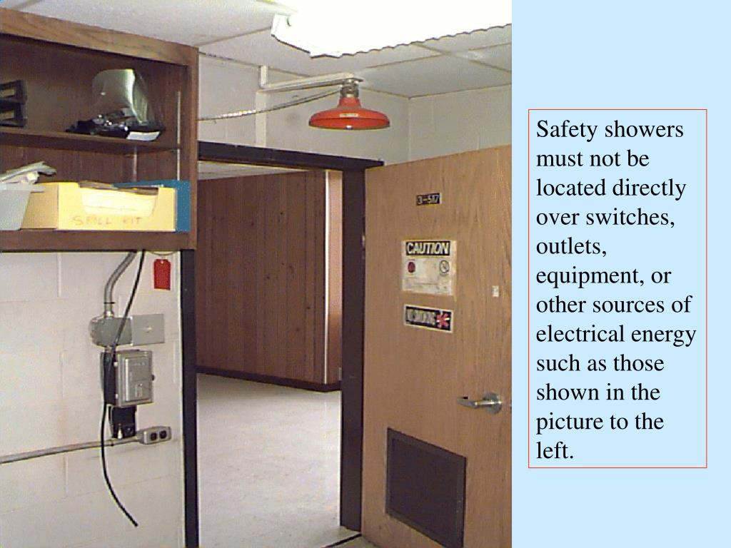 Safety showers must not be located directly over switches, outlets, equipment, or other sources of electrical energy such as those shown in the picture to the left.