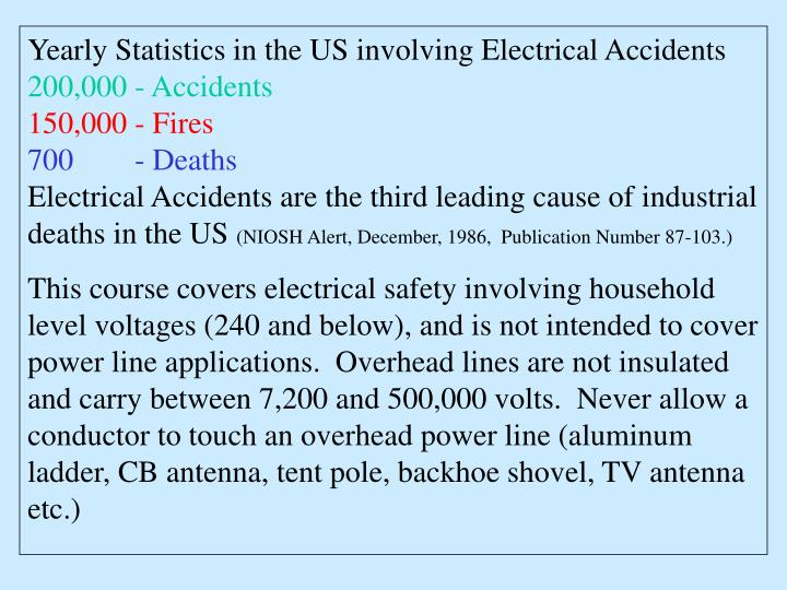 Yearly Statistics in the US involving Electrical Accidents