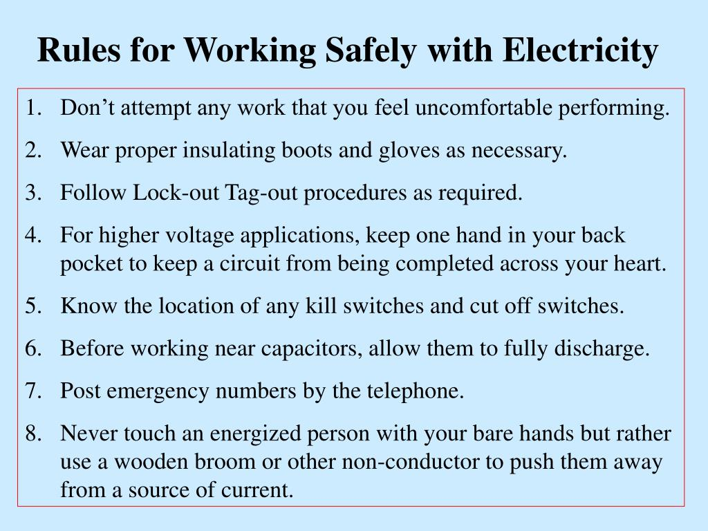 Rules for Working Safely with Electricity