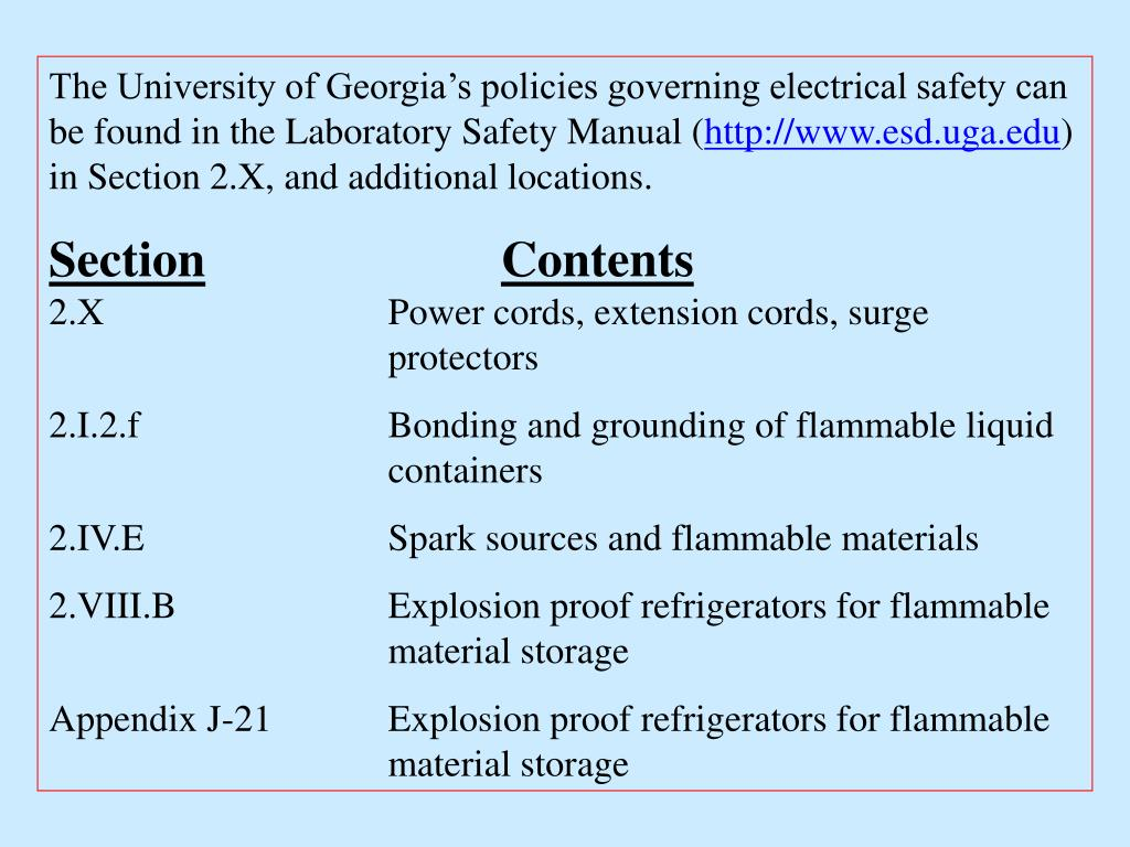 The University of Georgia's policies governing electrical safety can be found in the Laboratory Safety Manual (