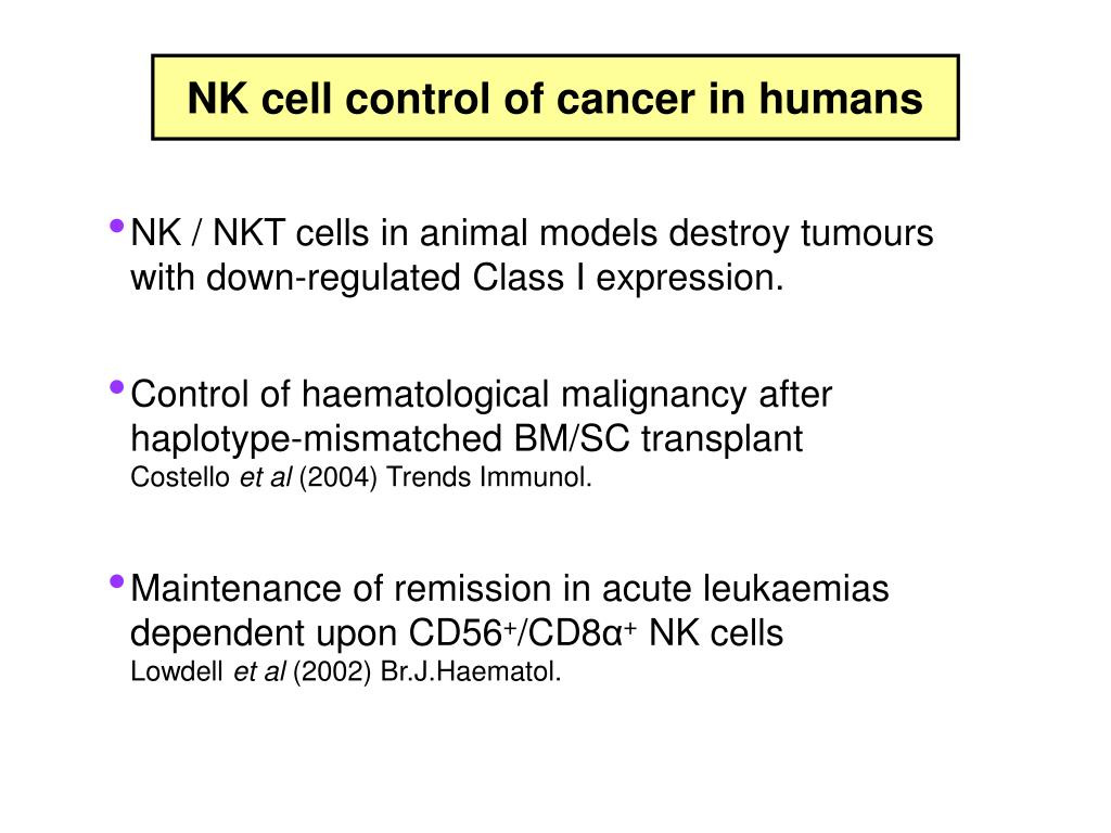 NK cell control of cancer in humans