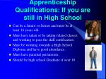 apprenticeship qualifications if you are still in high school