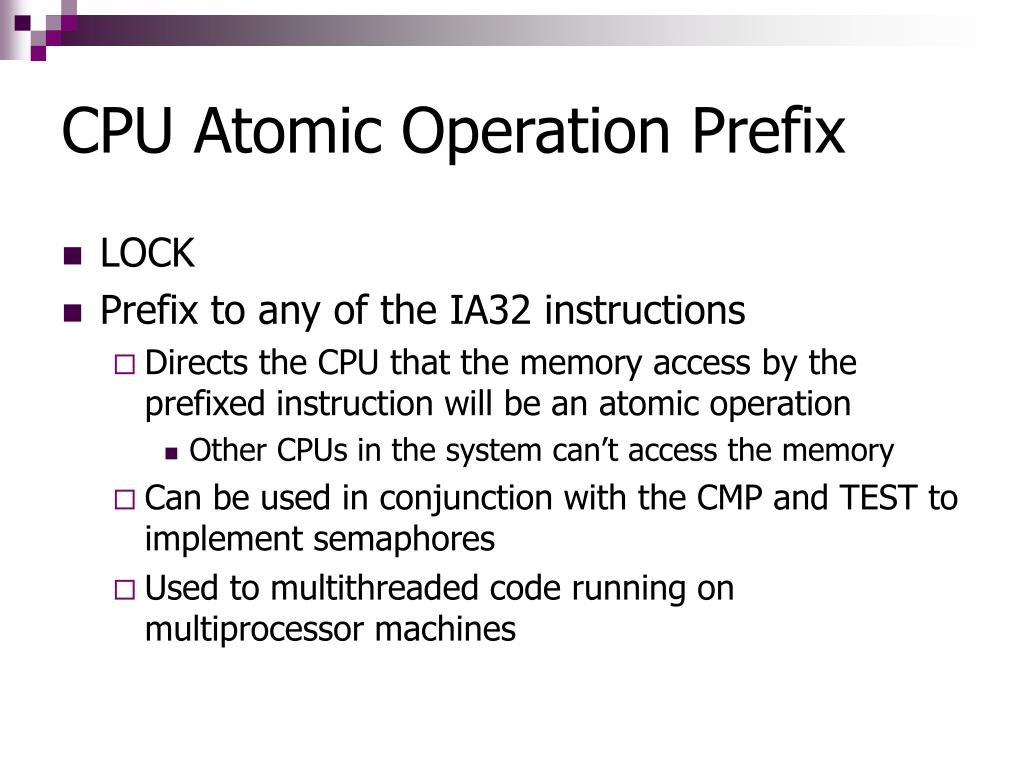 CPU Atomic Operation Prefix