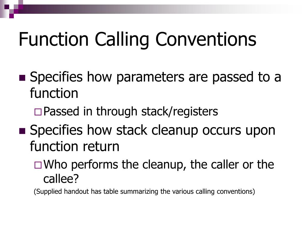 Function Calling Conventions