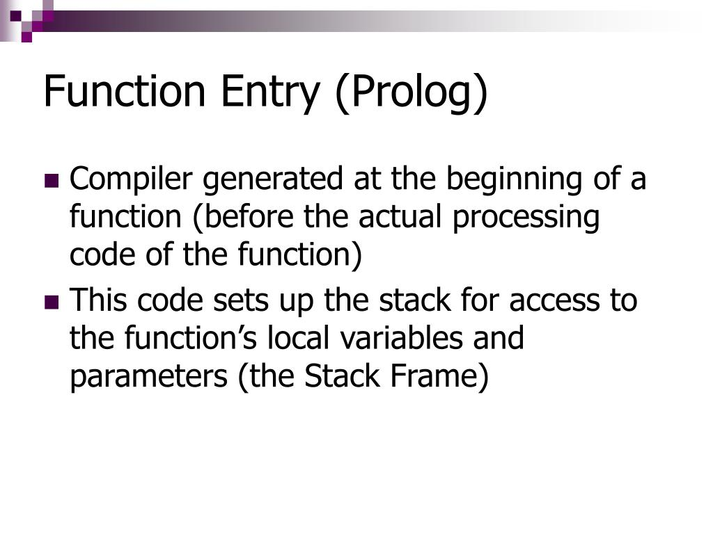 Function Entry (Prolog)