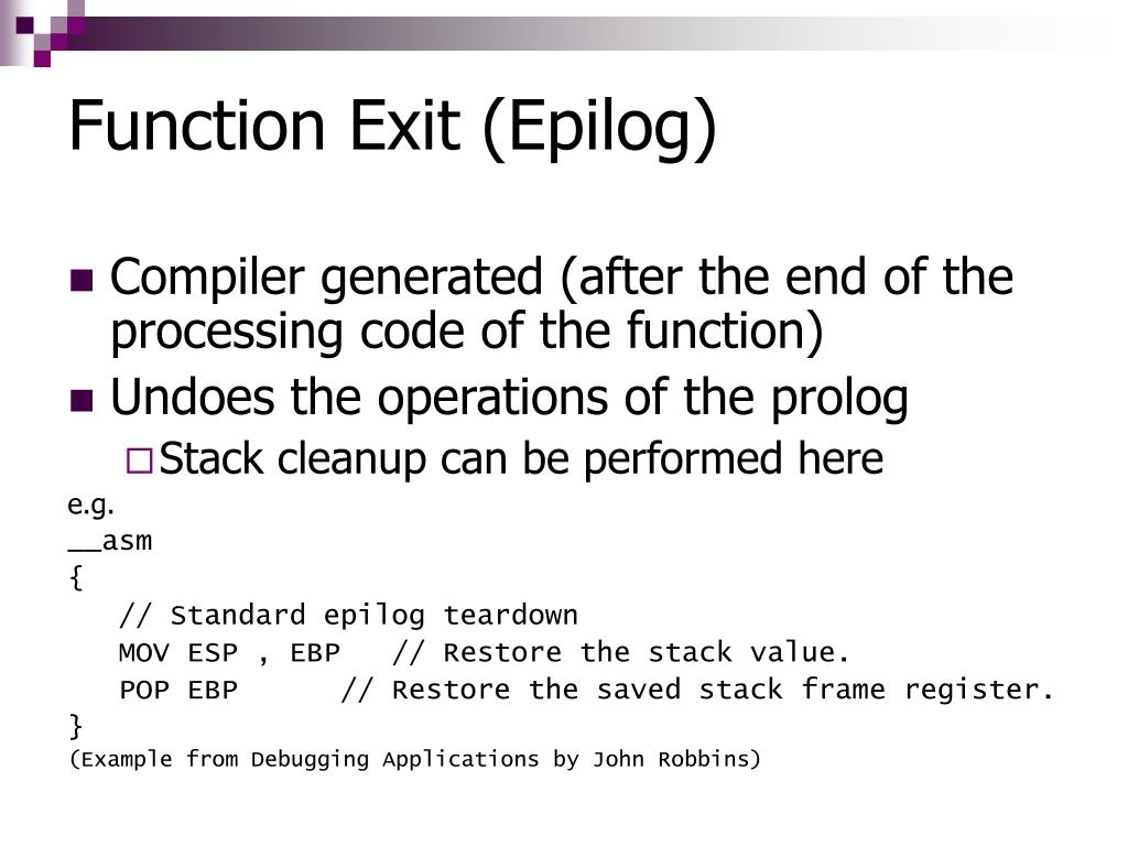 Function Exit (Epilog)