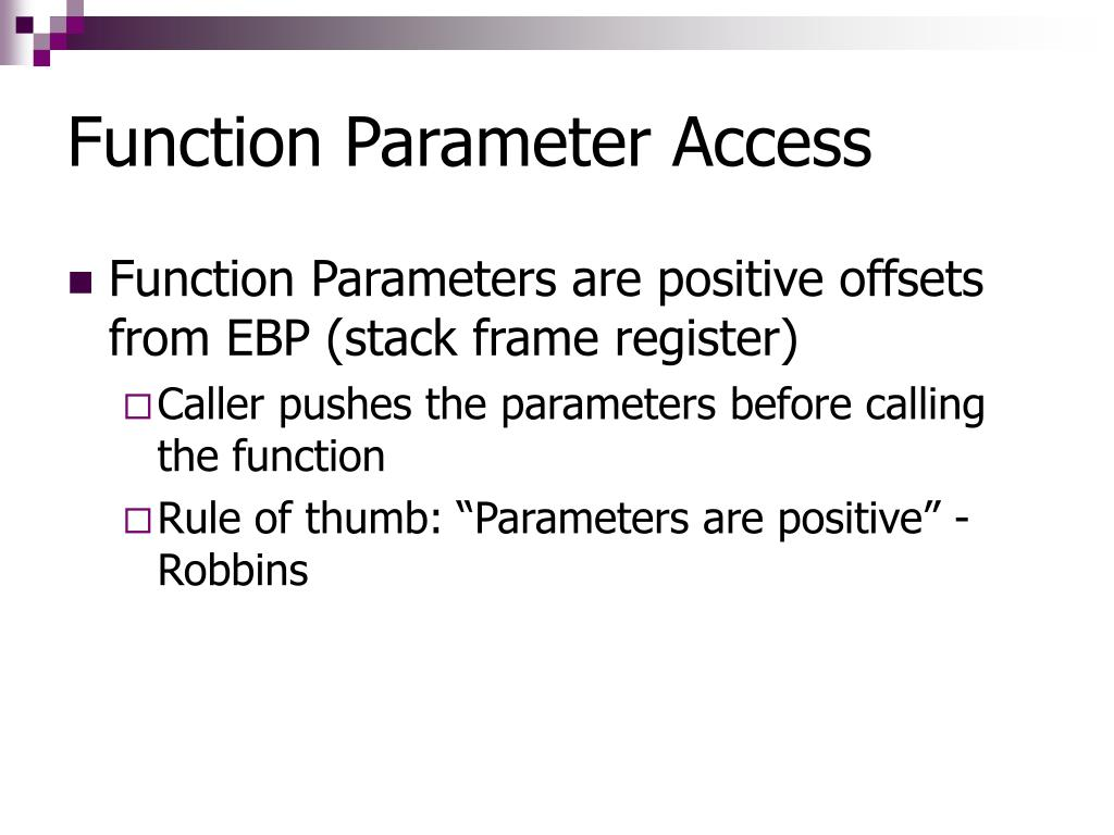 Function Parameter Access