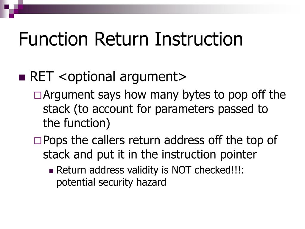 Function Return Instruction