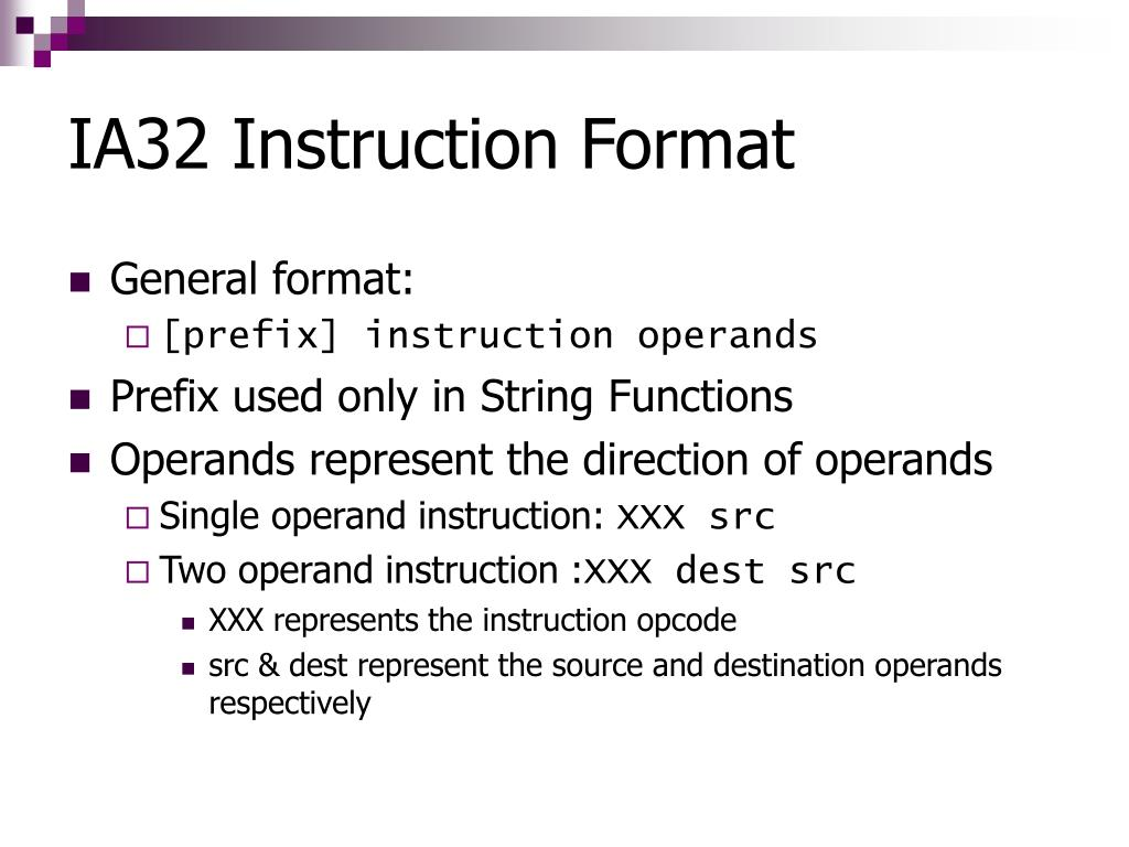 IA32 Instruction Format