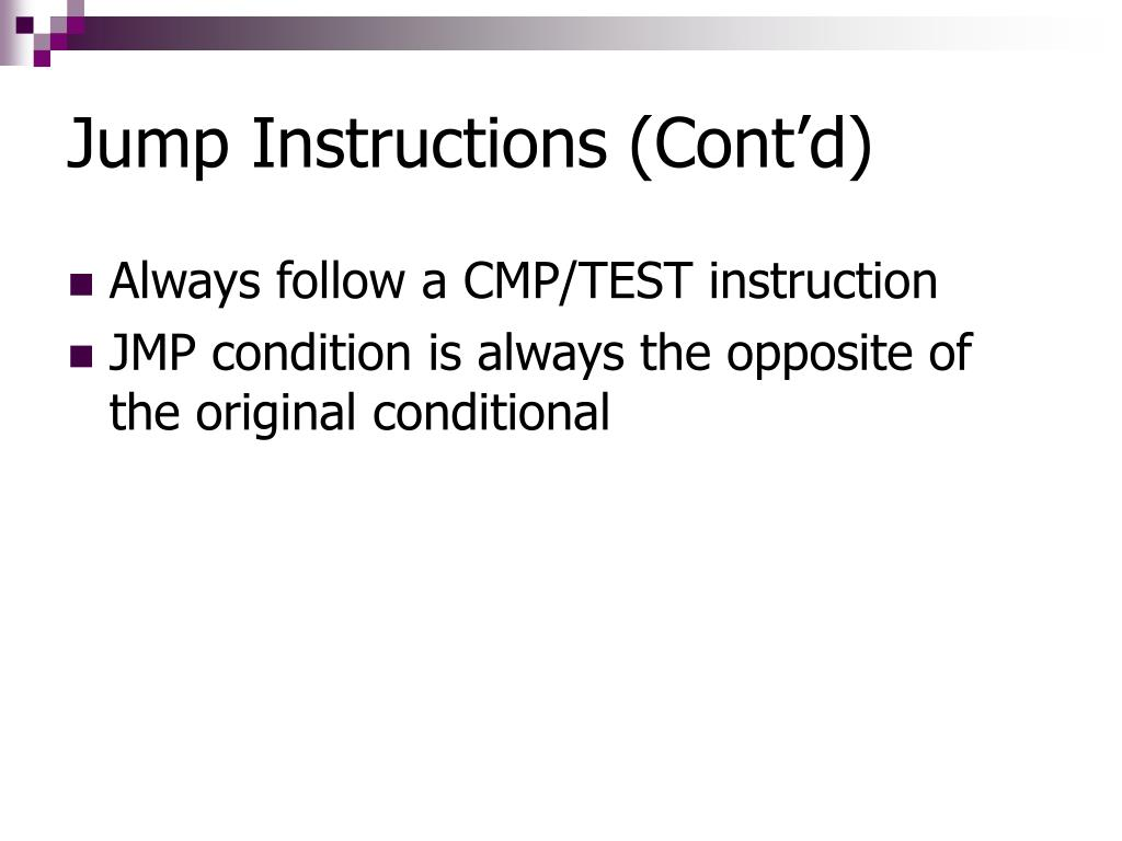 Jump Instructions (Cont'd)