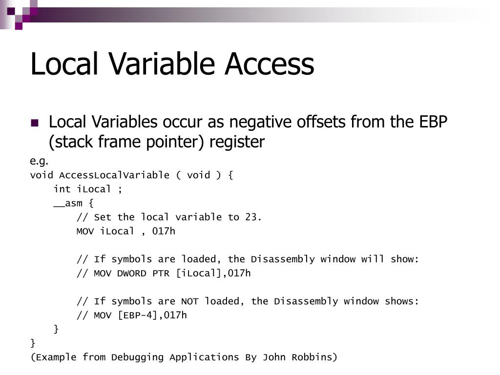 Local Variable Access