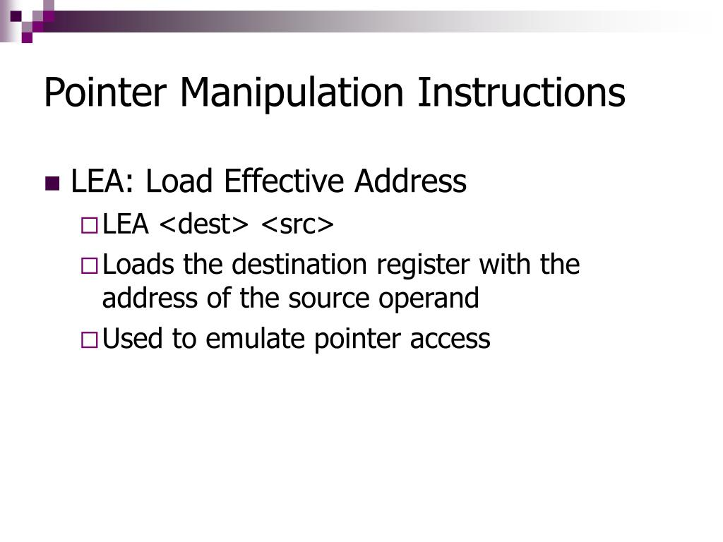 Pointer Manipulation Instructions