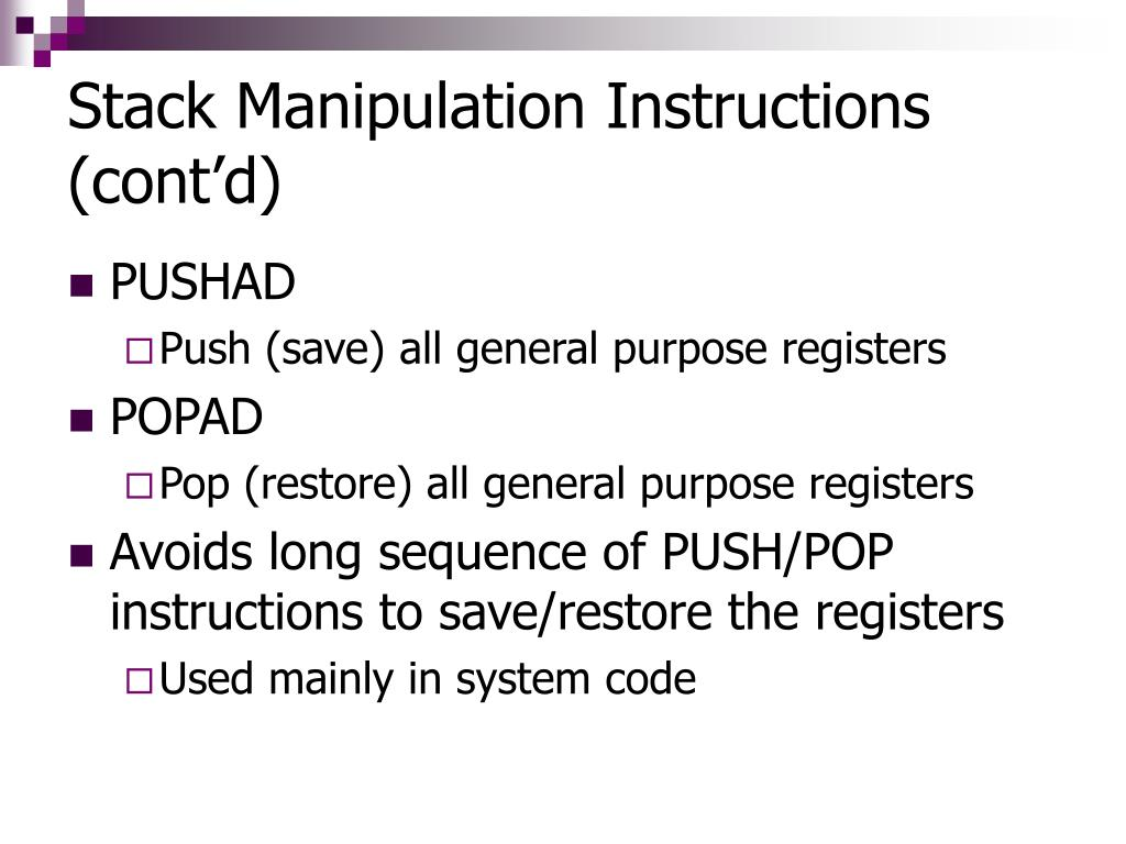 Stack Manipulation Instructions (cont'd)