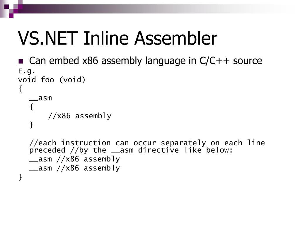 VS.NET Inline Assembler