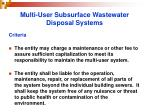 multi user subsurface wastewater disposal systems31