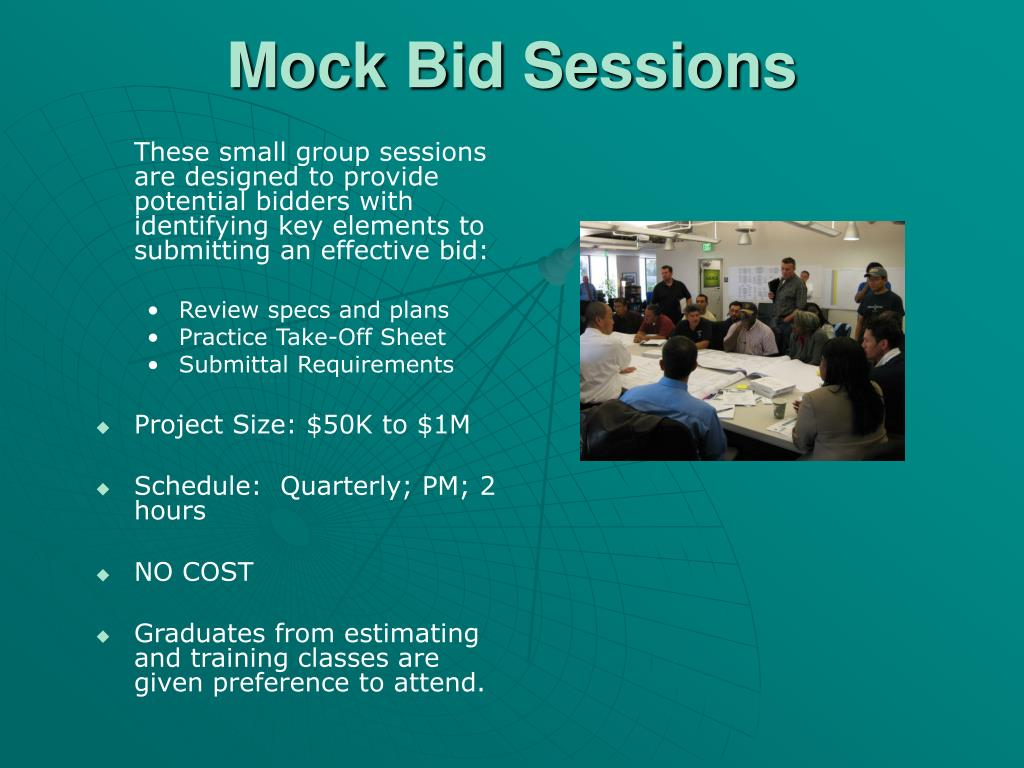 These small group sessions are designed to provide potential bidders with identifying key elements to submitting an effective bid: