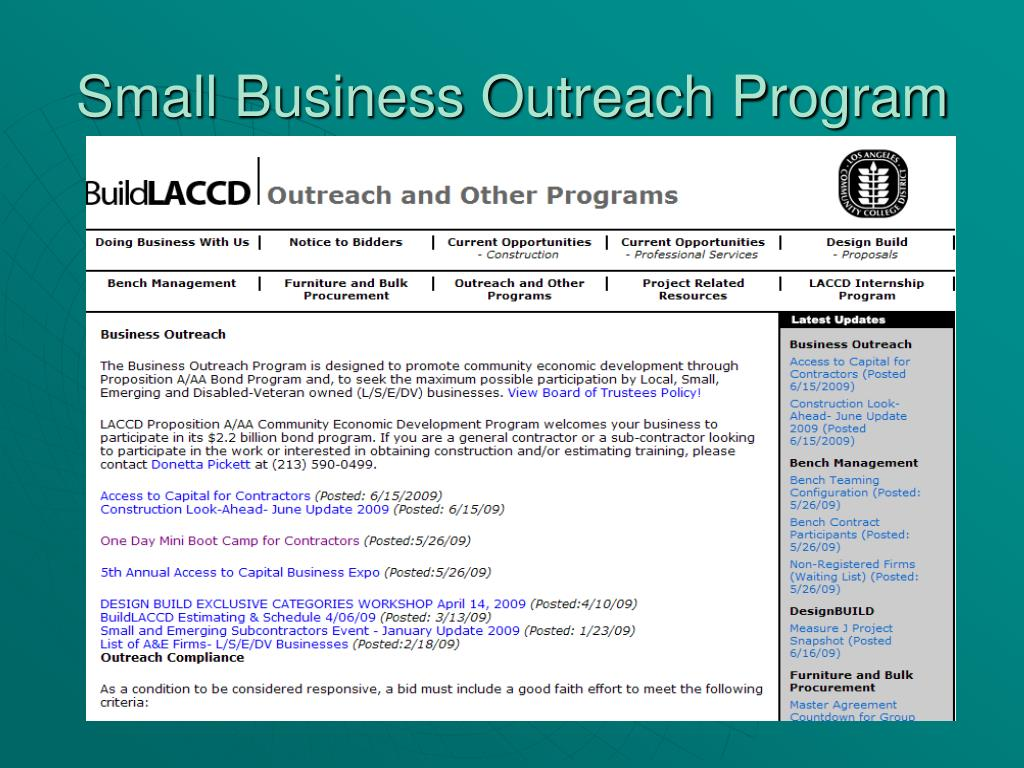 Small Business Outreach Program