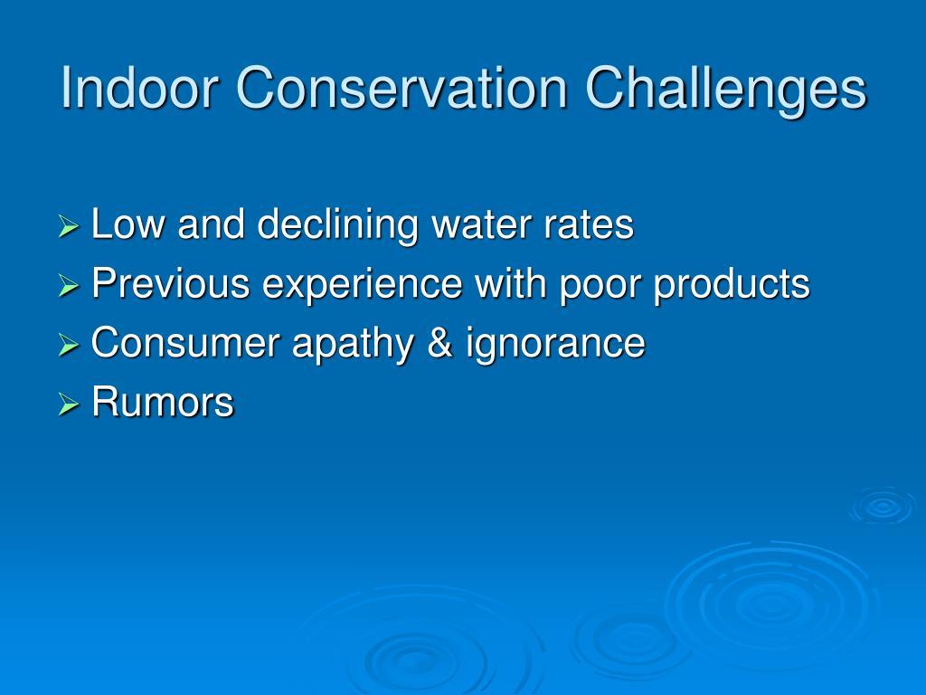 Indoor Conservation Challenges