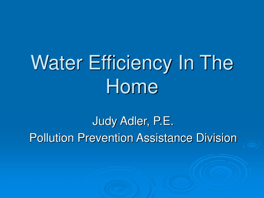 Water Efficiency In The Home
