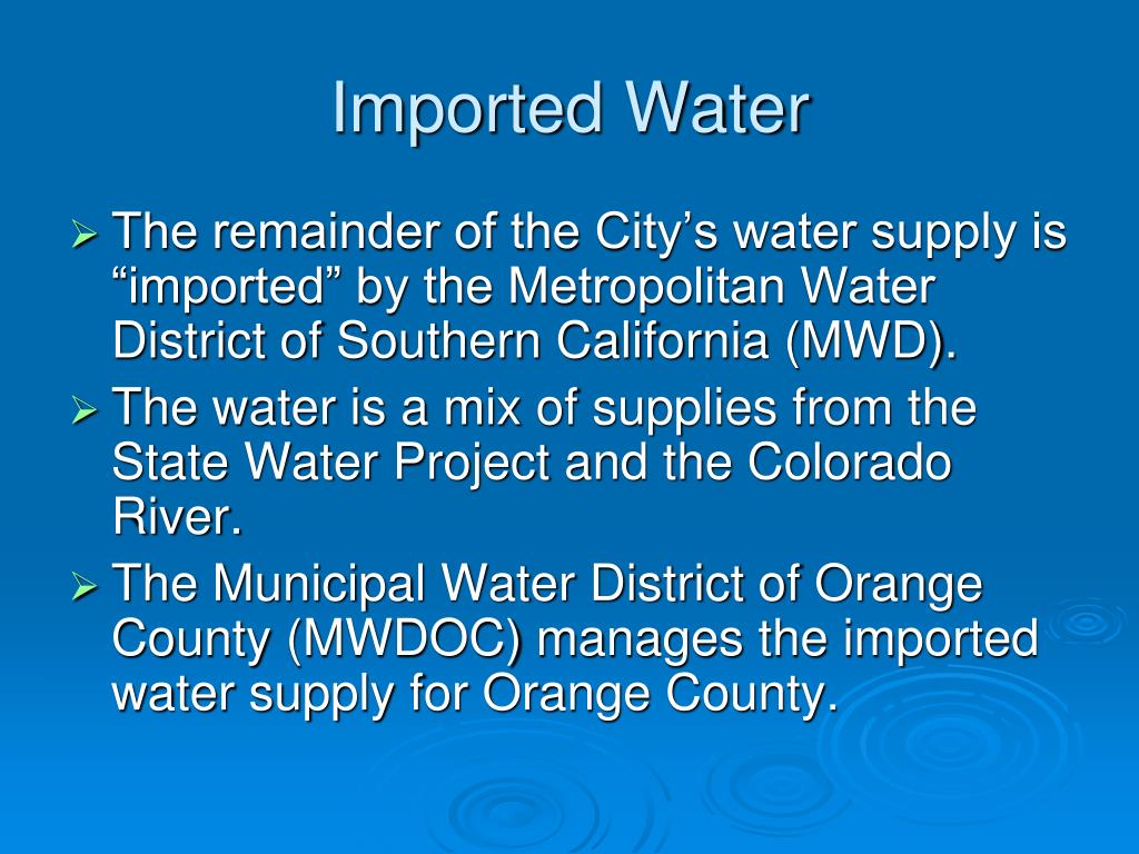 Imported Water