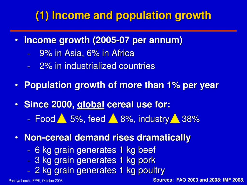 (1) Income and population growth