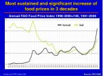 most sustained and significant increase of food prices in 3 decades