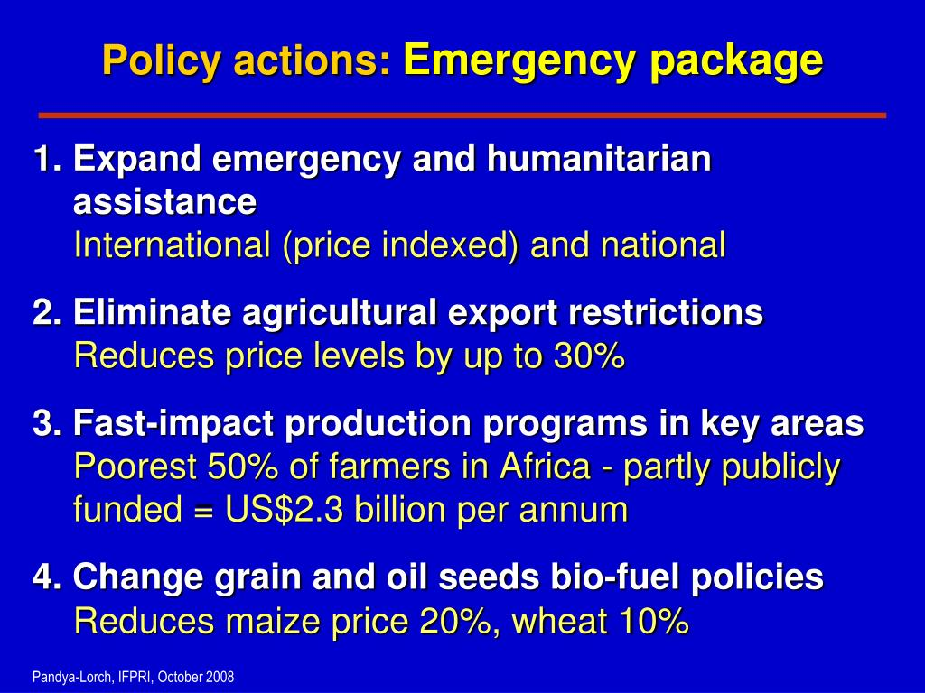 Policy actions: