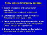 policy actions emergency package