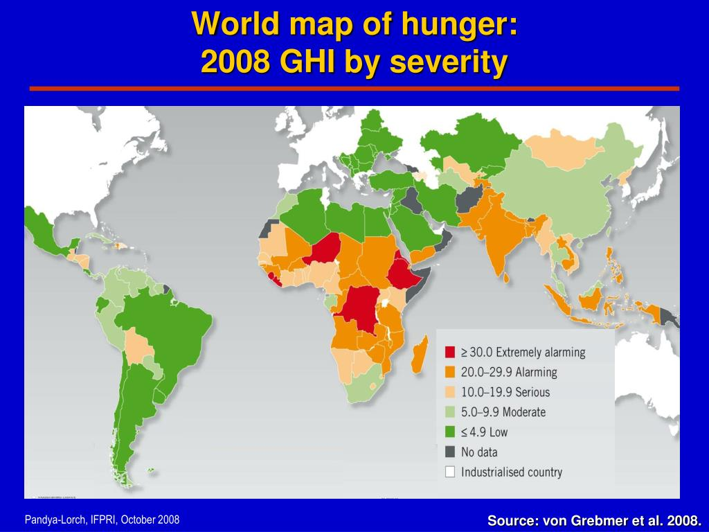 World map of hunger: