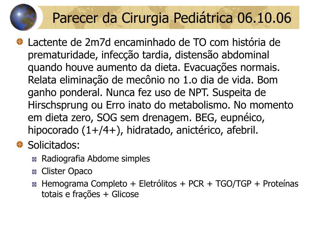 Parecer da Cirurgia Pediátrica 06.10.06