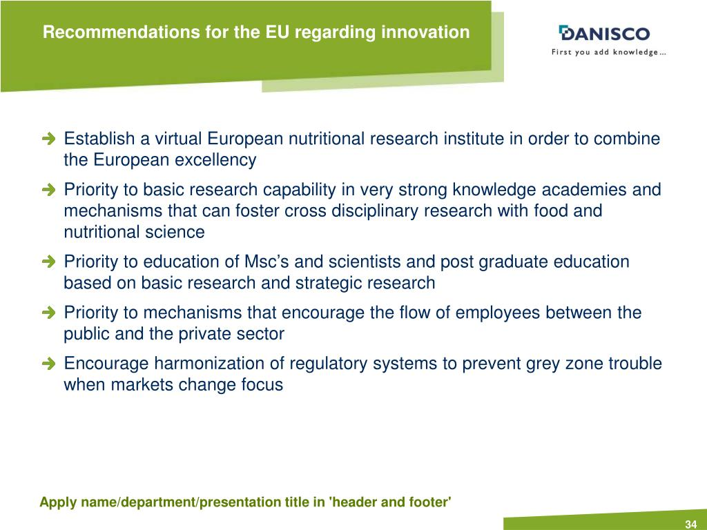 Recommendations for the EU regarding innovation