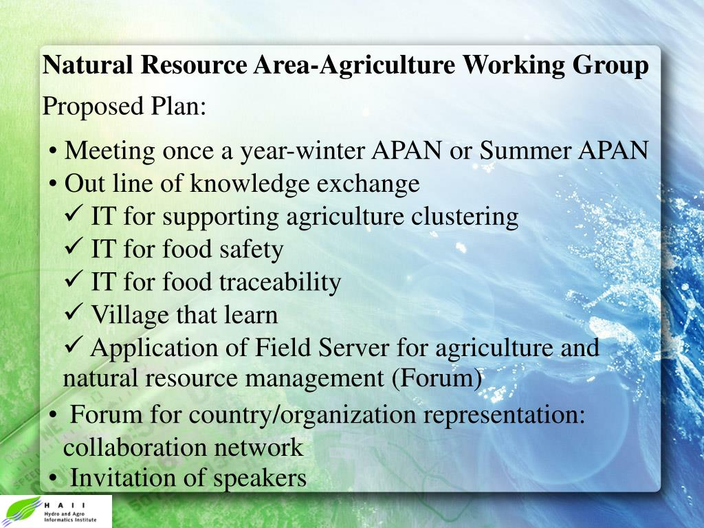 Natural Resource Area-Agriculture Working Group