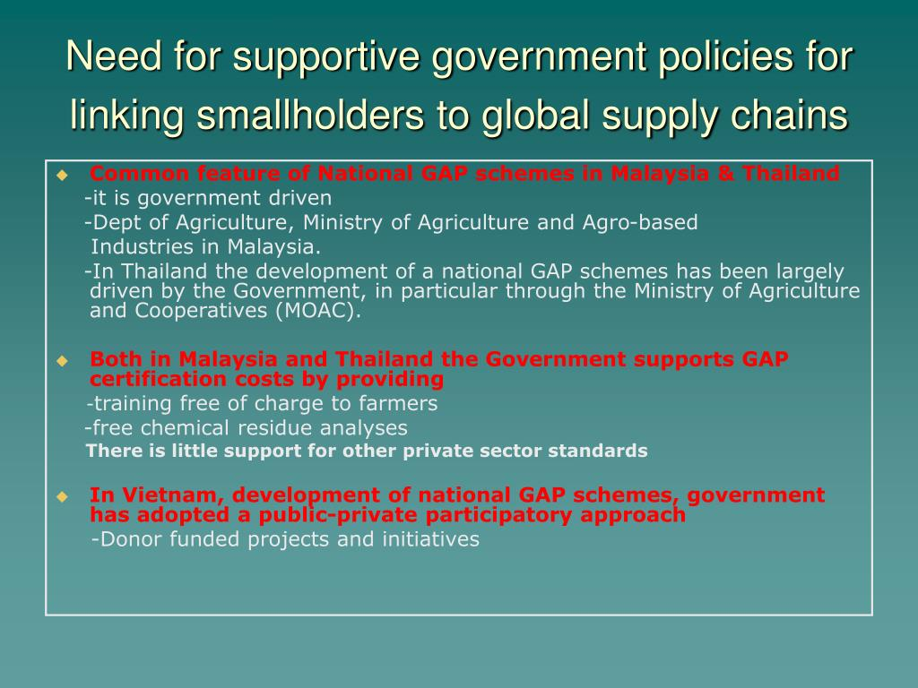Need for supportive government policies for linking smallholders to global supply chains