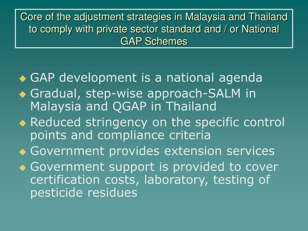 Core of the adjustment strategies in Malaysia and Thailand to comply with private sector standard and / or National GAP Schemes