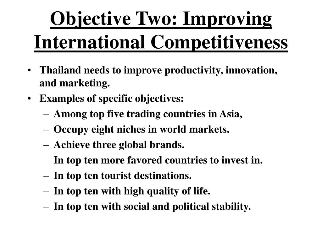 Objective Two: Improving International Competitiveness
