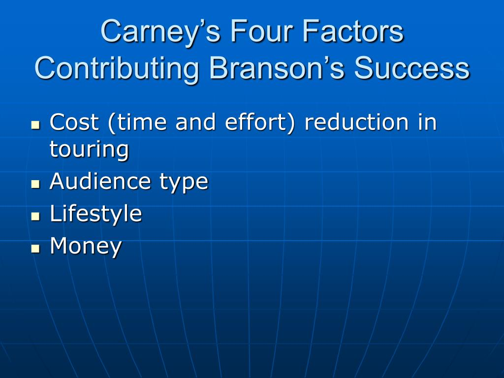 Carney's Four Factors Contributing Branson's Success